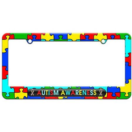 Autism Awareness, Puzzle Ribbons License Plate Tag Frame, Multiple Colors ()