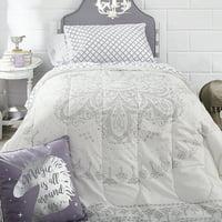 The Complete Campus Pak, Kiara Silver White 24-Piece Bedding Comforter Set, Twin XL, including BONUS Mattress Topper, 2 Pillows, Storage Set and 100% Cotton Towel Set by OCM