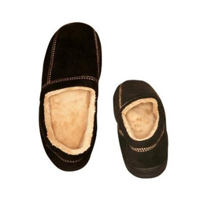 Living Healthy Products MSFS-003-1112 11-12 Suede Fleece Mens Slipper in Black - image 1 of 1