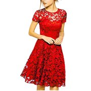 Women Lace Floral Short Sleeve Evening Party Wedding Dress