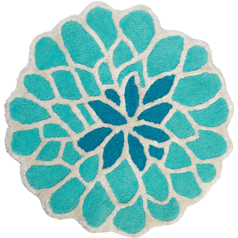 Zenna Home India Ink Number 9 Floral Bath Rug, Aqua