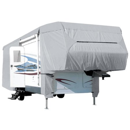 Waterproof Superior 5th Wheel Toy Hauler RV Motorhome Cover Fits Length 26'-29' New Fifth Wheel Travel Trailer Camper Zippered Panels Heavy Duty 4 Layer Fabric ()