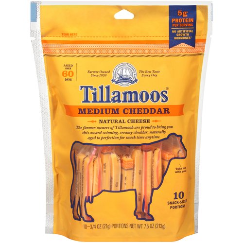 Tillamook Pack-It-Pals Medium Cheddar Cheese Tilla-Moos, 10 ct
