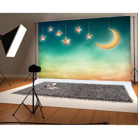 GreenDecor Polyester Fantasy Moon and Stars Backdrop 7x5ft Photography Background Newborn Baby Photos Children Dream Theme Birthday Party Decoration Little - Little Girl Birthday Themes