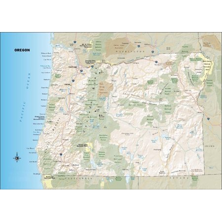 Laminated Poster Oregon State Road Map Or City Highway Poster Print 24 x 36 - Party City Eugene Oregon