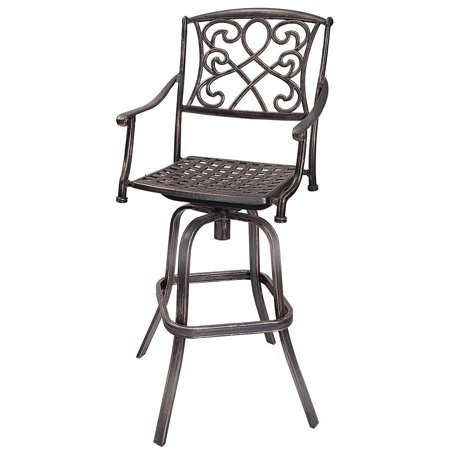 Gymax Cast Aluminum Swivel Bar Stool Patio Furniture Antique Copper Design Outdoor