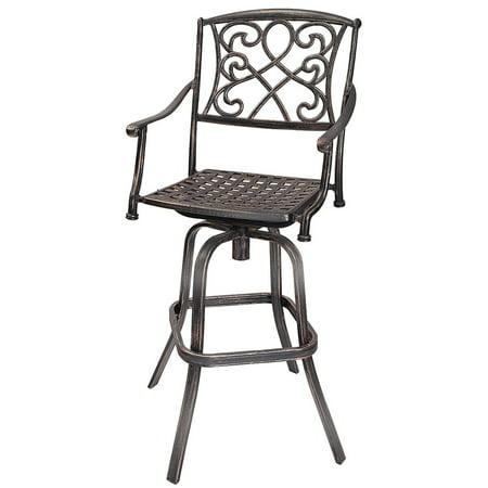 Gymax Cast Aluminum Swivel Bar Stool Patio Furniture Antique Copper Design Outdoor