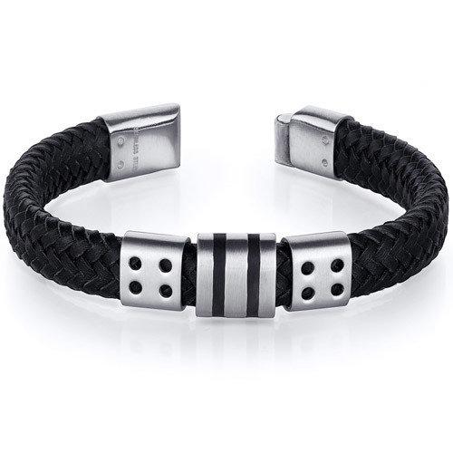 Oravo Mens Black Woven Leather Striped Stainless Steel Bracelet