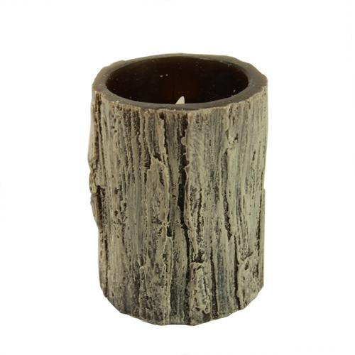 "4"" Rustic Faux Tree Bark Battery Operated Flameless LED Wax Christmas Pillar Candle"