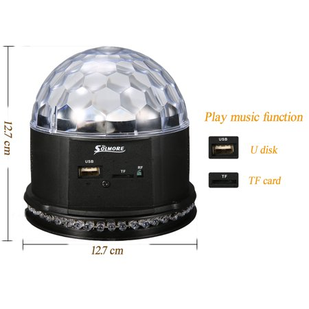 Sound Activated Remote Control 3 RGB 48 LED Lights Crystal Magic Ball Support Music MP3 Player for Stage Lights Party Lights Christmas Halloween Disco DJ Lights - image 2 de 11