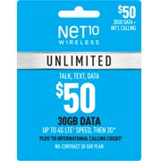 Net10 $50 Unlimited 30-Day Plan e-PIN Top Up (Email Delivery)