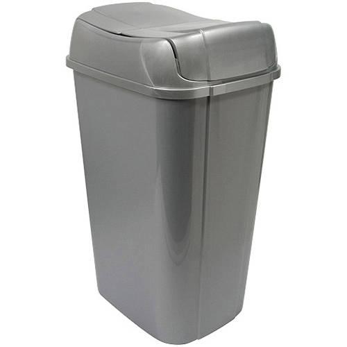 Hefty Pivot-Lid 13.3-Gallon Trash Can, Silver