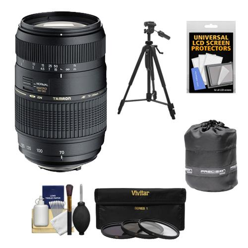 Tamron 70-300mm f/4-5.6 Di LD Macro 1:2 Zoom Lens (BIM) (for Nikon Cameras) with 3 UV/CPL/ND8 Filters + Lens Pouch + Tripod + Accessory Kit