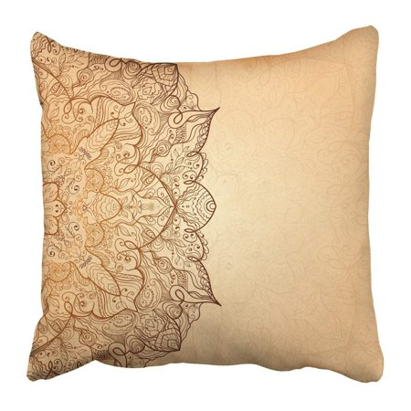 WOPOP Henna Ornate Vintage Gold in Mehndi Style and Others Design Tribal Abstract Arabic Asian Pillowcase Pillow Cover 18x18 (Arabic Bridal Mehndi Designs For Full Hands 2014)
