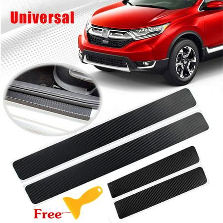 4pcs Accessories Carbon Fiber Car Scuff Plate Door Sill 4D Sticker Panel Protect