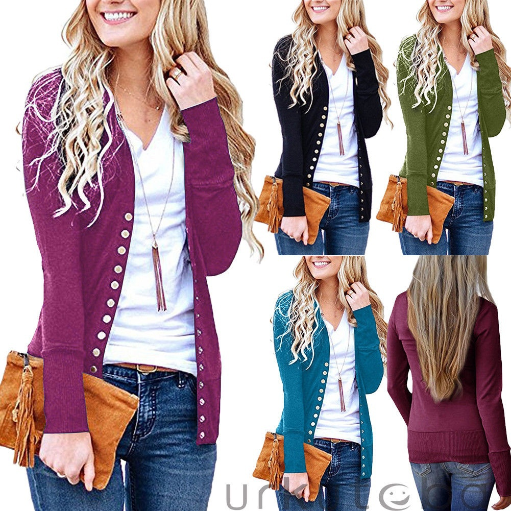 Women's Snap Button Long Sleeve Soft Basic Knit Snap Cardigan Sweater Plus Size