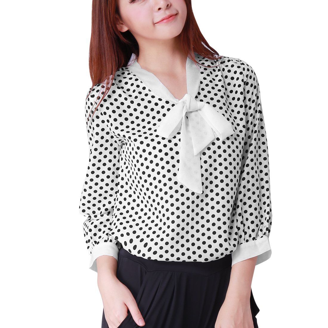 Allegra K Woman NEW Fashion Polka Dots Pattern Loose White Leisure Blouse L