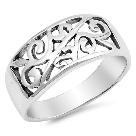 - Victorian Style Filigree Leaf Design Ring .925 Sterling Silver Band Size 9