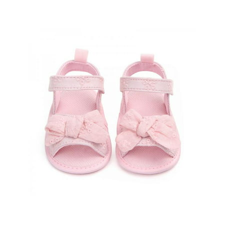 Lavaport Infant Girl Cute Bow-knot Sandals Soft Sole Anti-slip Cotton Cloth Shoes 0-18M