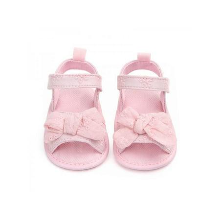 Lavaport Infant Girl Cute Bow-knot Sandals Soft Sole Anti-slip Cotton Cloth Shoes 0-18M ()