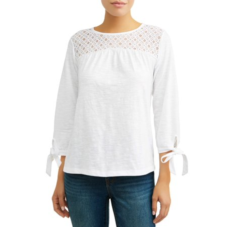 Women's Long Sleeve Lace Yoke Peasant Top