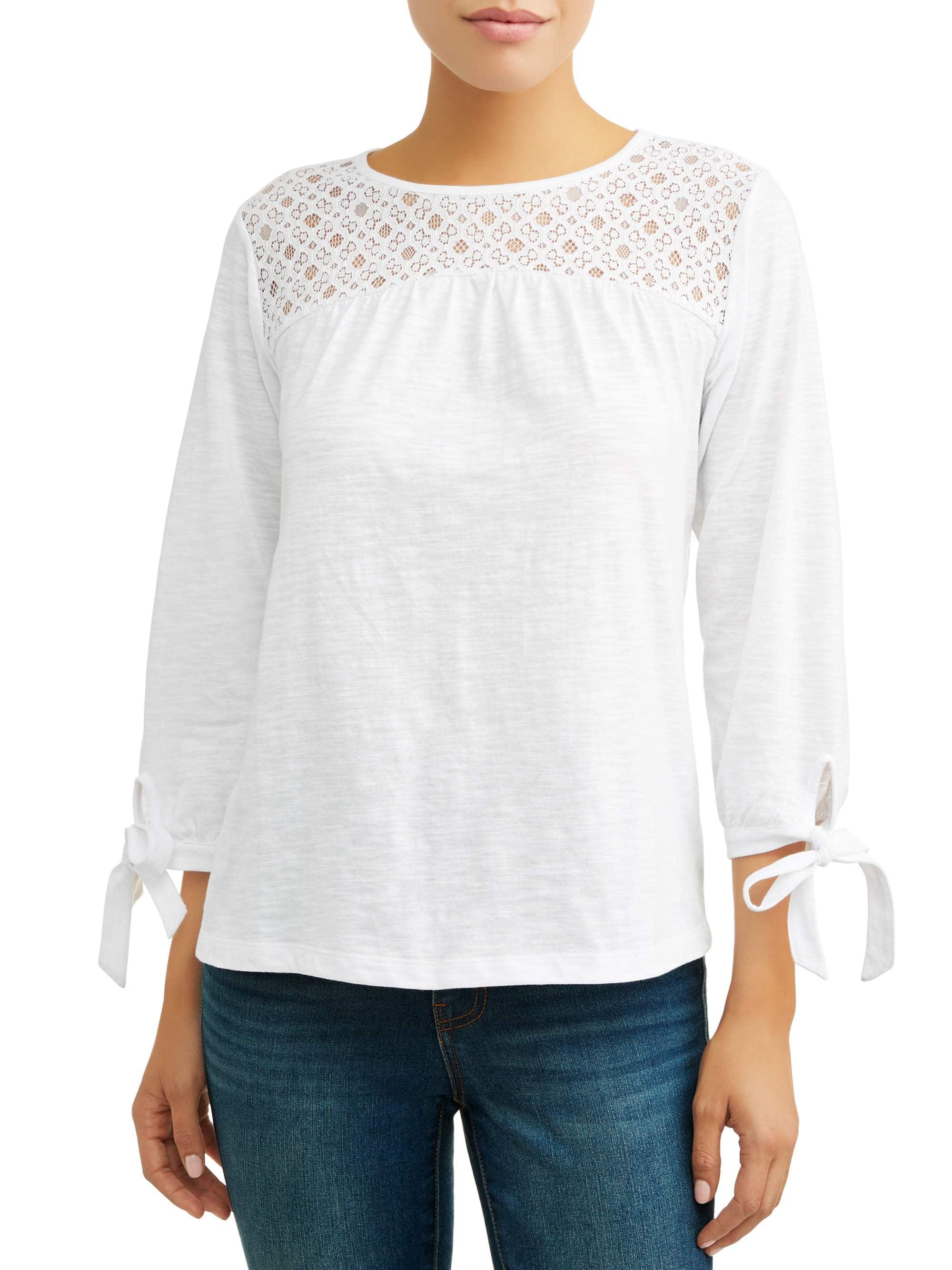 Women's Long Sleeve Lace Yoke Peasant Top