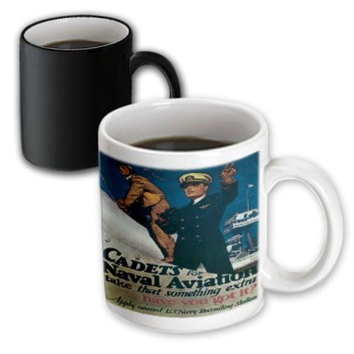 3dRose Vintage Cadets for Naval Aviation US Navy Recruiting Poster, Magic Transforming Mug, 11oz