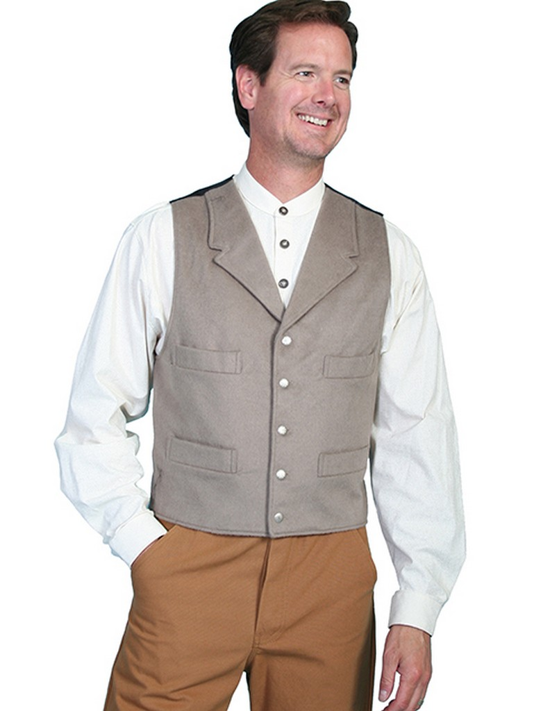 Scully Western Vest Mens Wool blend Notched Lapel Button 520924