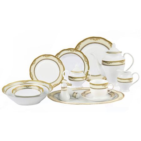 Lorren Home Trends Isabella 57 Piece Dinnerware Set, Service for 8 ()