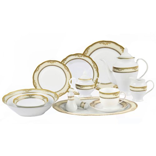 Lorren Home Trends Isabella 57 Piece Dinnerware Set, Service for 8