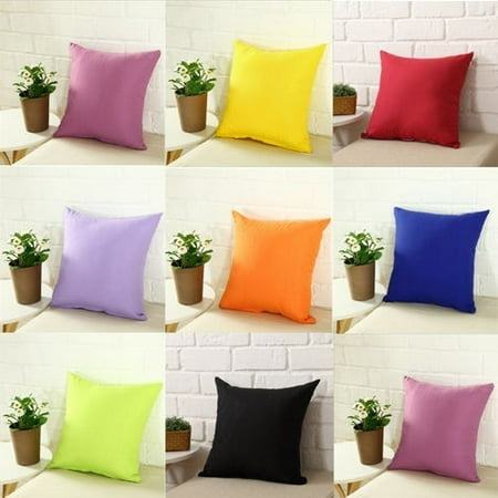 Plain Solid Color Throw Pillow Case Home Sofa Linen Cotton Cushion Cover (Linen Cushion)