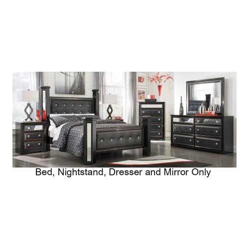 Ashley  Alamadyre B36468669961313693 4-Piece Bedroom Set with King Size Poster Bed  Dresser  Mirror and Nightstand in