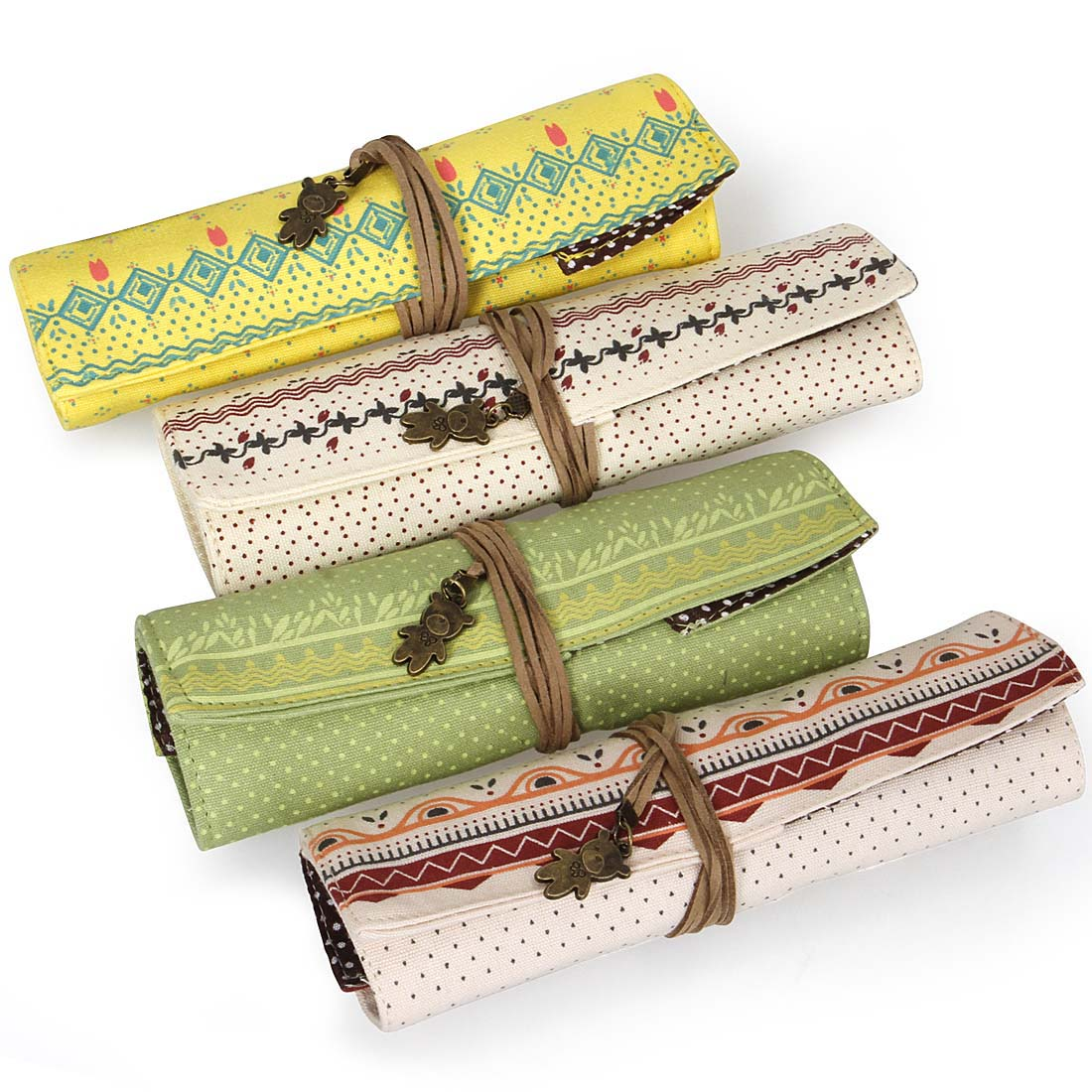Bundle Monster 4pc Mixed Design Roll Up Style Charm Tie Brush and Pencil Cases