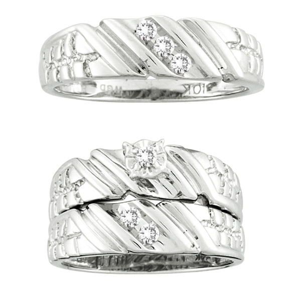 10K White Gold 0.18cttw Round Diamond His and Hers Bridal Band Trio Set Ring