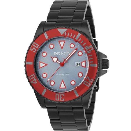 Invicta Men's Pro Diver Black Steel Bracelet & Case Quartz Grey Dial Analog Watch -