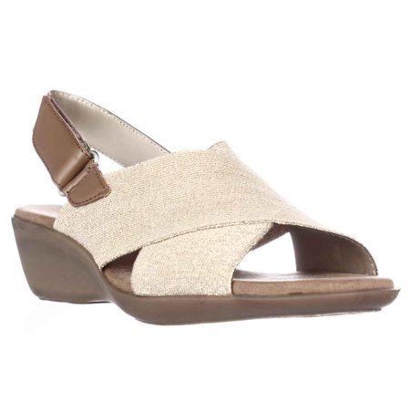 86effe8530de Aerosoles - Womens Aerosoles Badlands Wedge Peep Toe Slingback Sandals -  Gold Metallic - Walmart.com