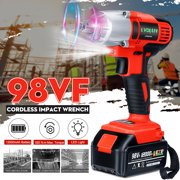 98VF 320NM 12000mAh Cordless Electric Impact Wrench High Torque Tools Drill Screwdriver LED Light w/1x Battery For Home DIY Building