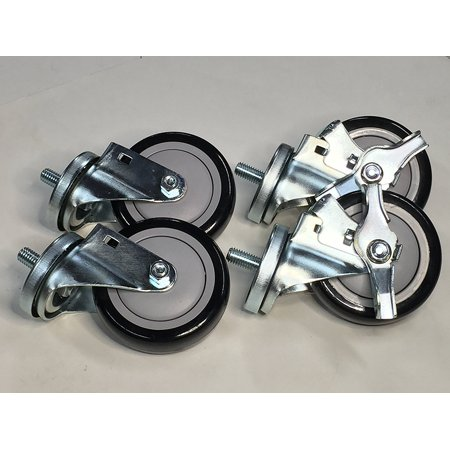 Heavy Duty - Transmission Jack Casters, Set of 4, (2 Locking and 2 Non Locking)