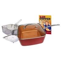As Seen on TV Red Copper Square Pan, 10 inches