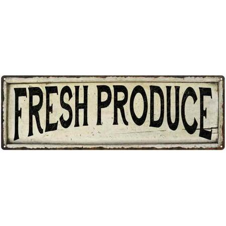 FRESH PRODUCE Farmhouse Style Wood Look Sign Gift 6x18 Metal Decor 206180028173