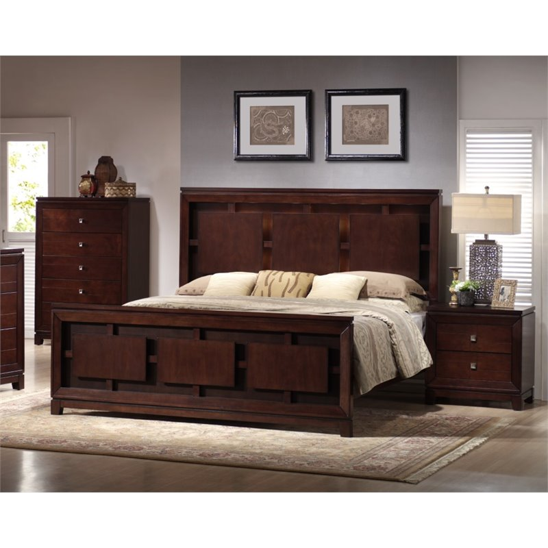 Picket House Furnishings Easton 3 Piece King Bedroom Set in Cherry