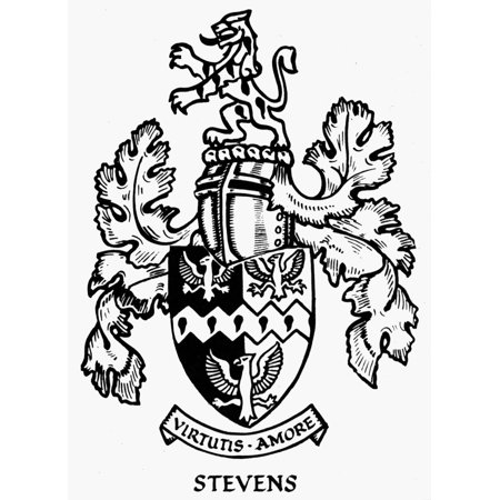 Heraldry Nstevens Coat Of Arms American Rolled Canvas Art - (24 x 36)