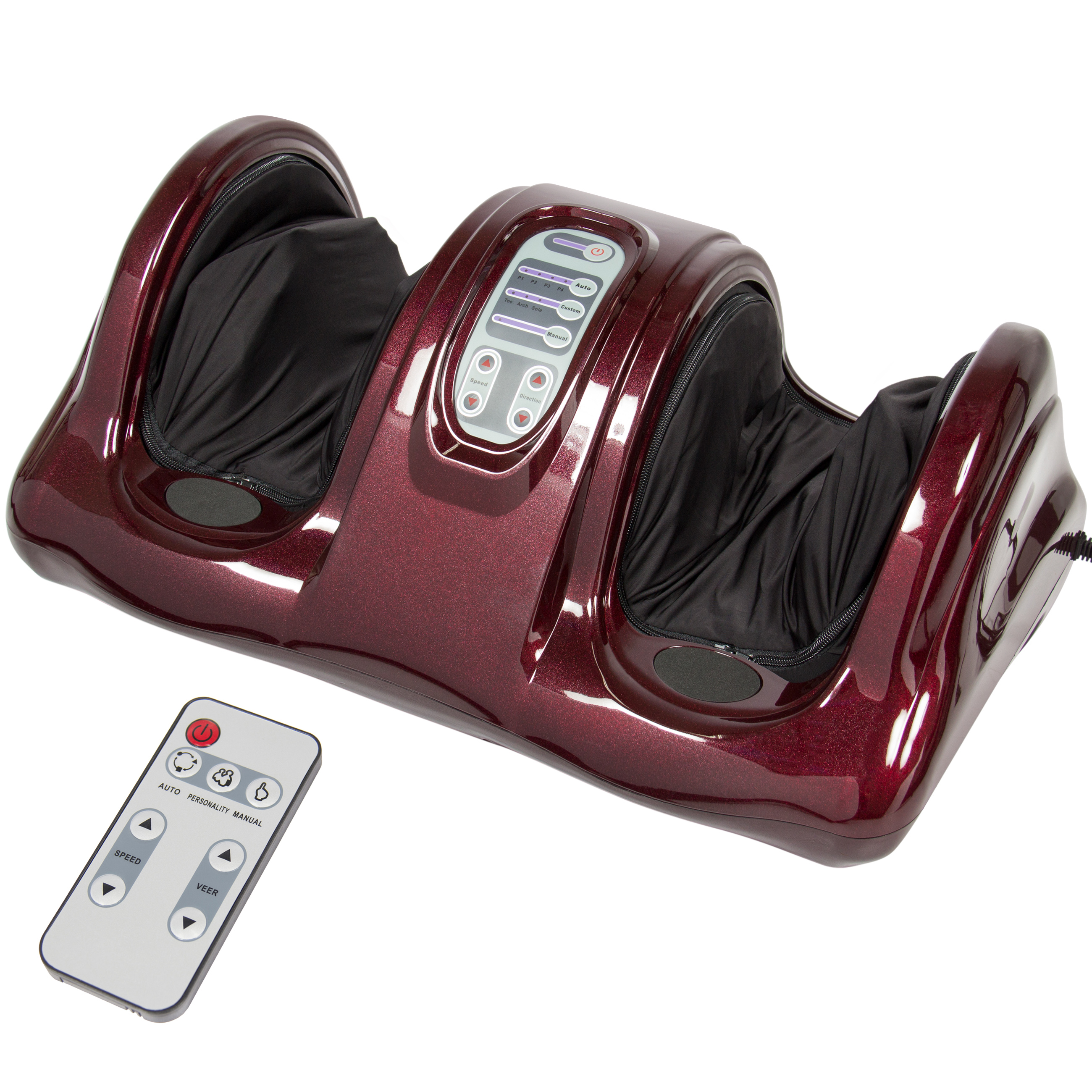 Best Choice Products Therapeutic Shiatsu Kneading and Rolling Compact Electric Foot Massager w/ Remote Control, 3 Modes - Burgundy