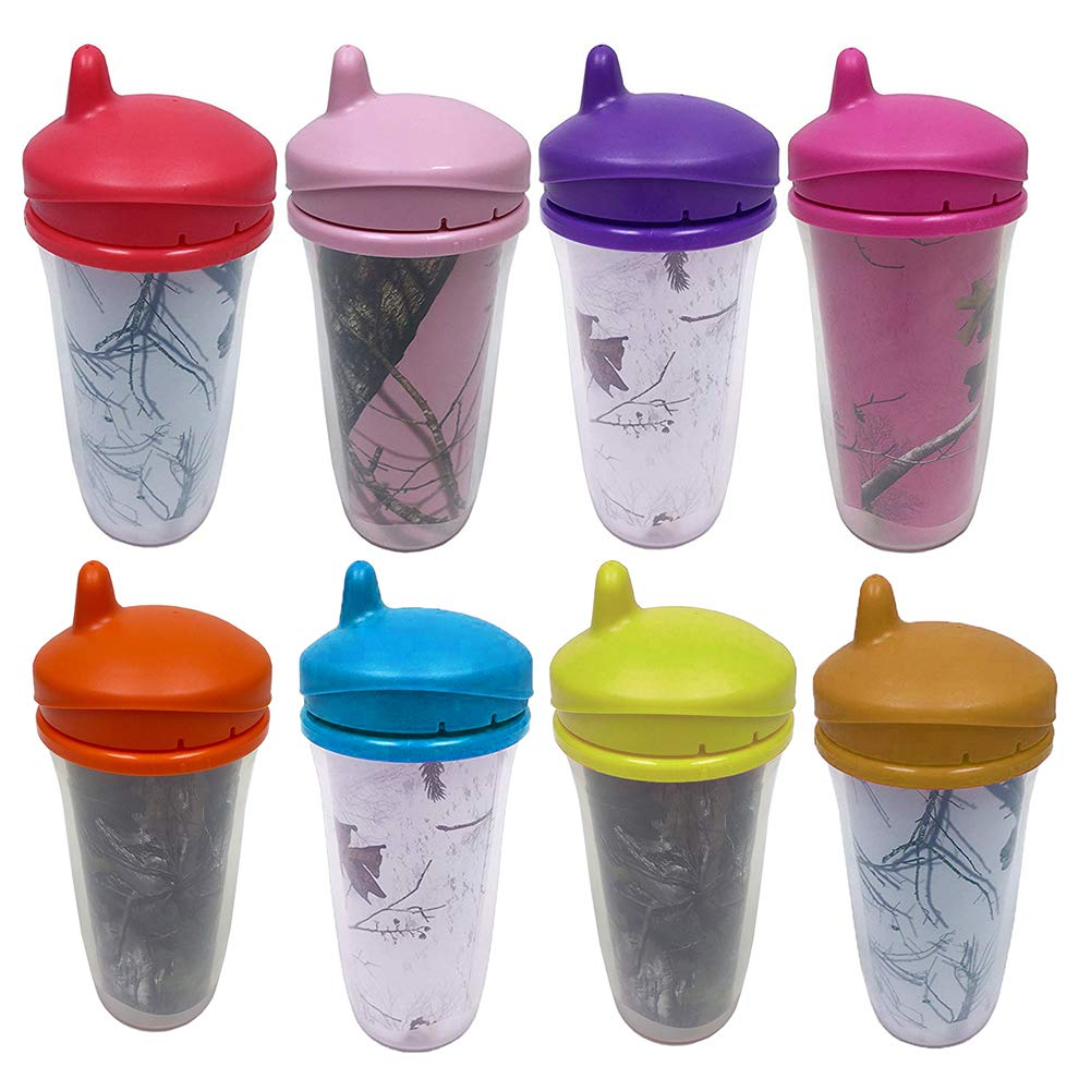 Copia Insulated Double Wall Leak & Spill Proof Baby Sippy Cups, 8 Assorted, 10oz by Copia Products