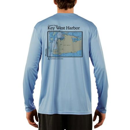 Key West Harbor Chart Men's UPF 50+ UV/Sun Protection Long Sleeve T-Shirt