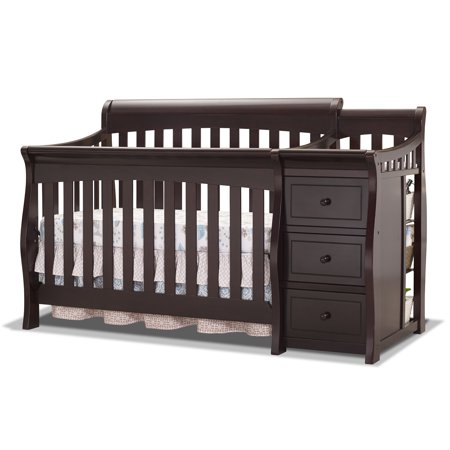 Sorelle Princeton Elite 4-in-1 Convertible Crib and Changer, Espresso