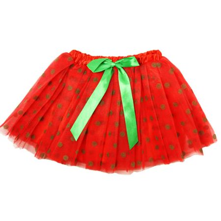 Little Girls Red Kelly Green Dots Satin Elastic Waist Ballet Tutu Skirt 2-8Y