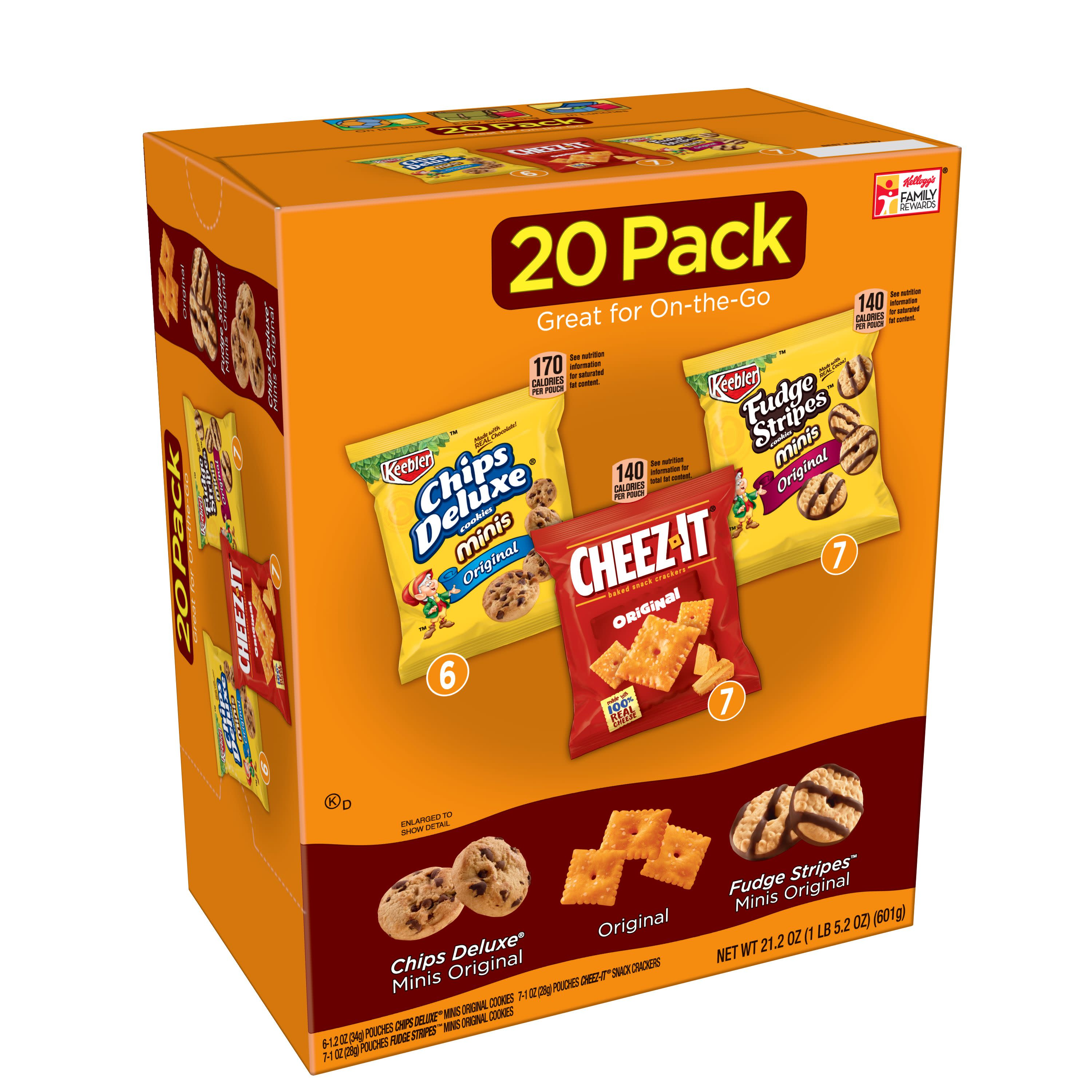 Chips Deluxe/Cheez-It/Fudge Stripes Variety Pack 20 ct Bags