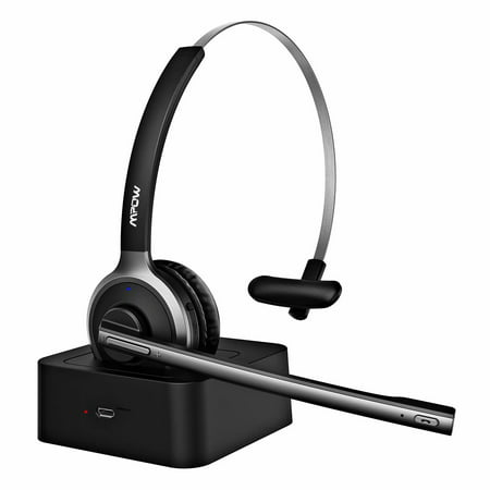 34008238c44 Mpow M5 Bluetooth Headset for Trucker, Office Headset with  Noise-Suppressing Mic, Bluetooth4.1 and up to 180H Charging Base -  Walmart.com