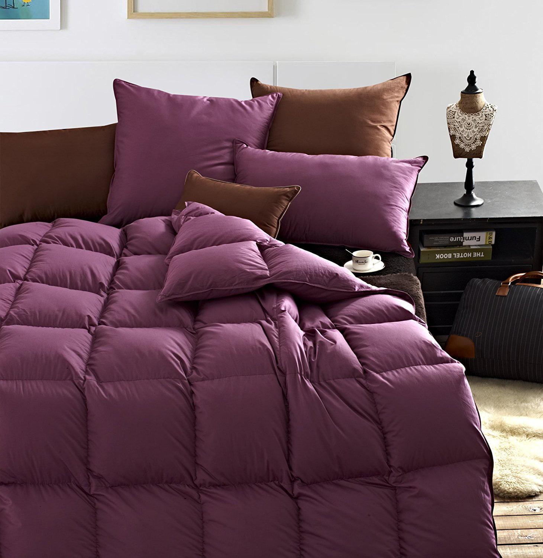 90 Purple Goose Down Duvet Insert King Size Comforter 100 Organic Cotton Shell Down Proof Solid Hypo Allergenic Winter Duvet Walmart Com Walmart Com